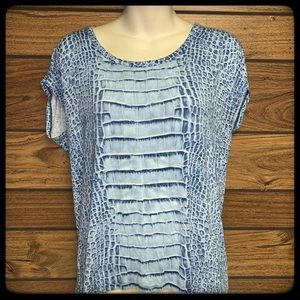 Michael Kors blue/white printed top size M